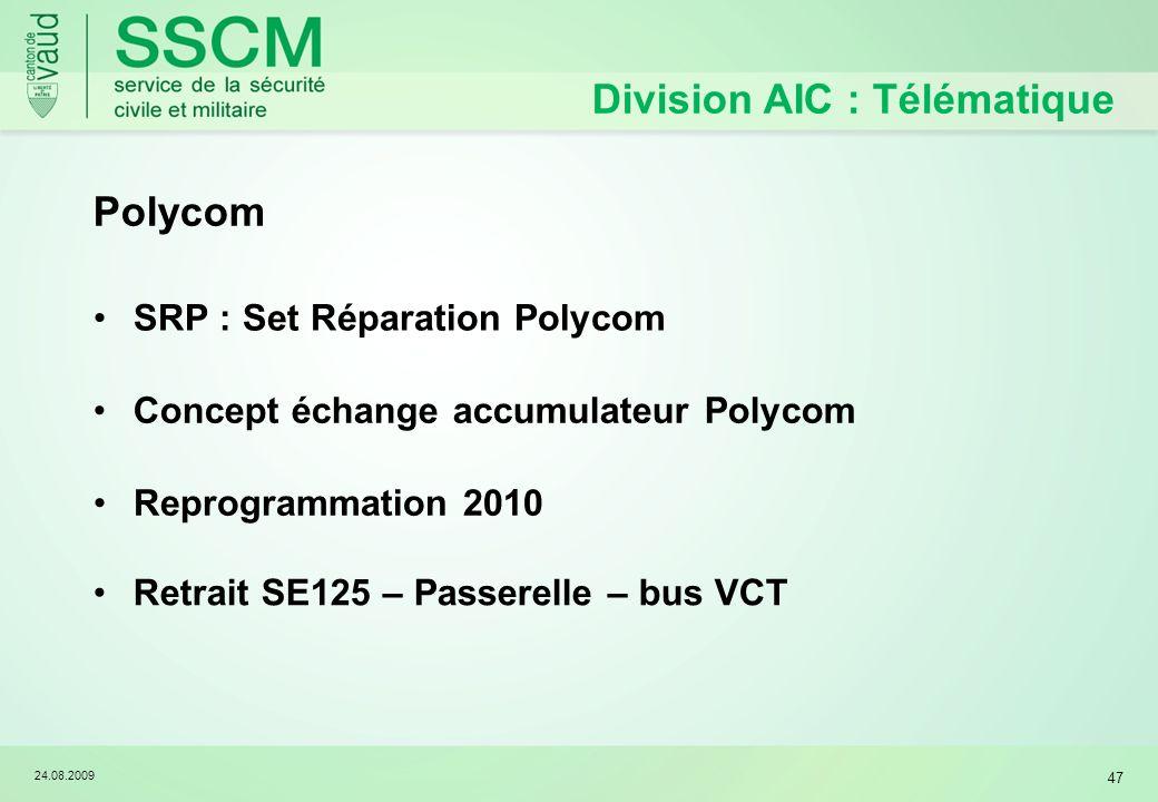 24.08.2009 47 Division AIC : Télématique Polycom SRP : Set Réparation Polycom Concept échange accumulateur Polycom Retrait SE125 – Passerelle – bus VCT Reprogrammation 2010
