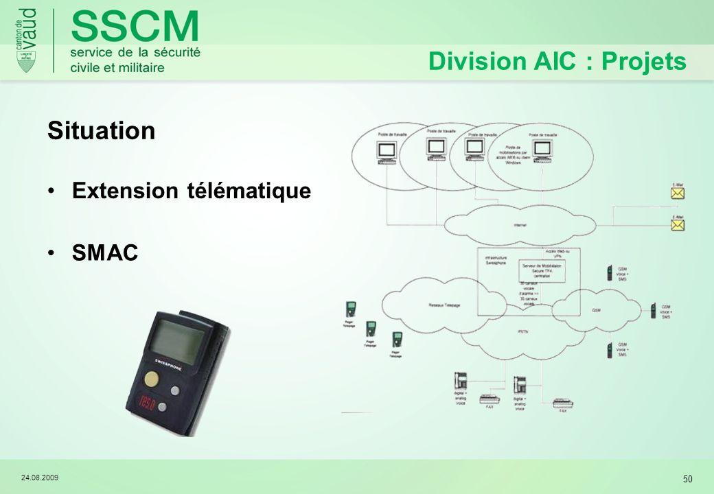 24.08.2009 50 Division AIC : Projets Extension télématique SMAC Situation