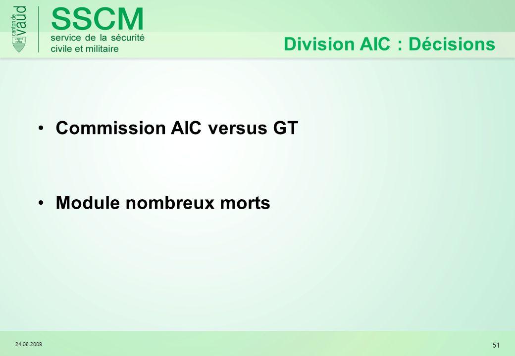 24.08.2009 51 Division AIC : Décisions Commission AIC versus GT Module nombreux morts