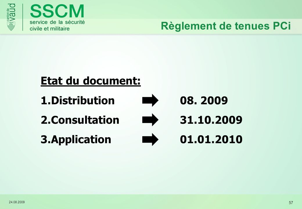 24.08.2009 57 Règlement de tenues PCi Etat du document: 1.Distribution08. 2009 2.Consultation 31.10.2009 3.Application 01.01.2010