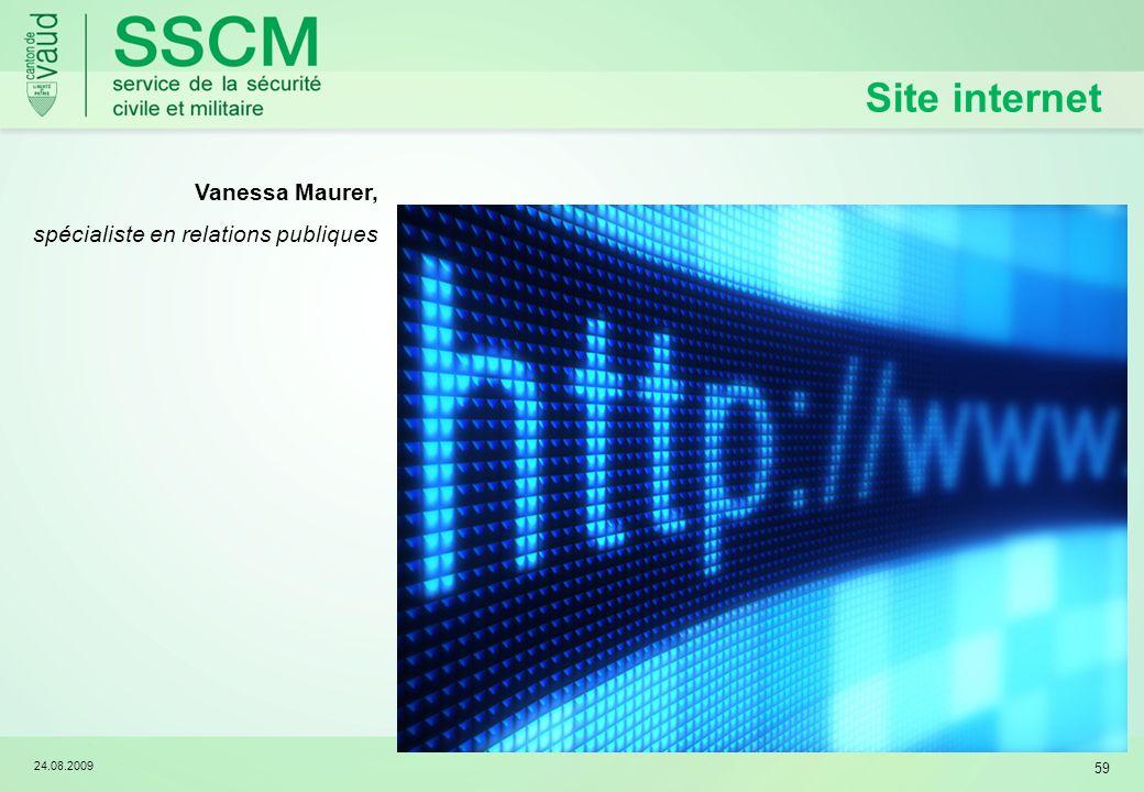 24.08.2009 59 Site internet Vanessa Maurer, spécialiste en relations publiques