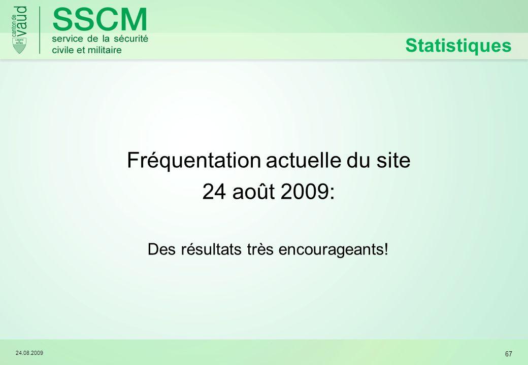 24.08.2009 67 Statistiques Fréquentation actuelle du site 24 août 2009: Des résultats très encourageants!