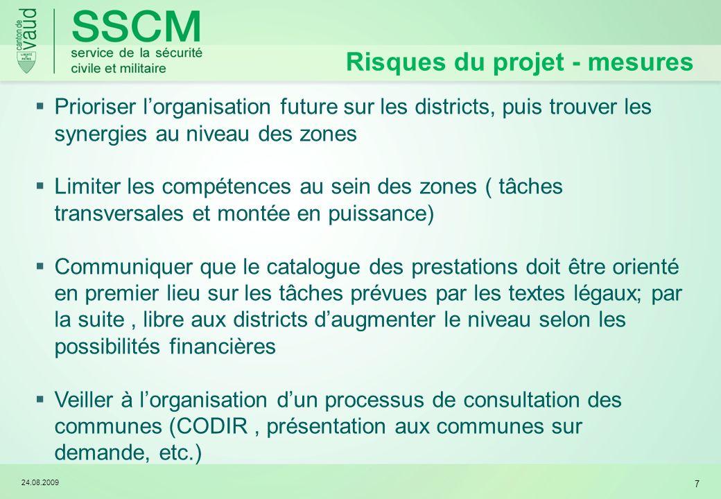 24.08.2009 7 Prioriser lorganisation future sur les districts, puis trouver les synergies au niveau des zones Limiter les compétences au sein des zone