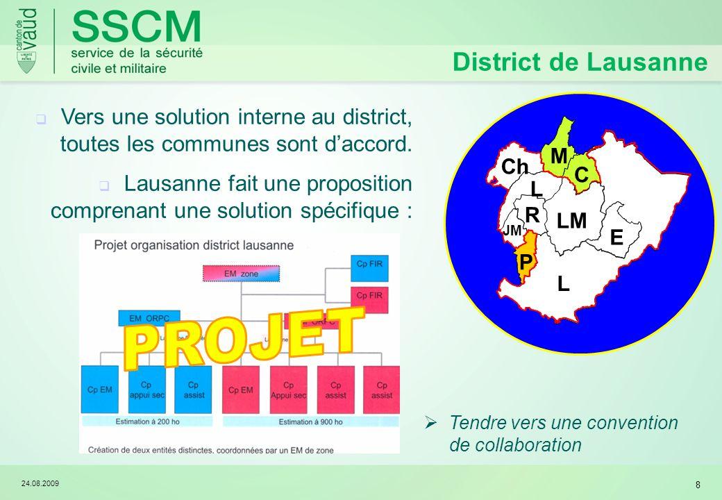 24.08.2009 8 E L LM R JM L Ch C P M District de Lausanne Vers une solution interne au district, toutes les communes sont daccord. Lausanne fait une pr
