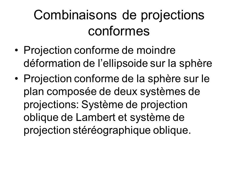 Combinaisons de projections conformes Projection conforme de moindre déformation de lellipsoide sur la sphère Projection conforme de la sphère sur le plan composée de deux systèmes de projections: Système de projection oblique de Lambert et système de projection stéréographique oblique.