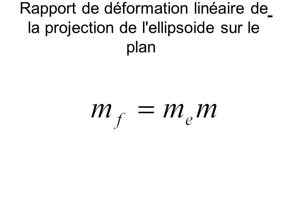 Rapport de déformation linéaire de la projection de l ellipsoide sur le plan