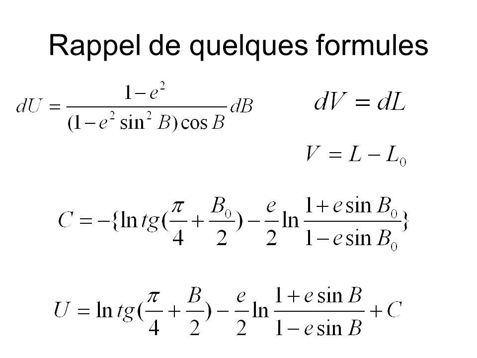Rappel de quelques formules