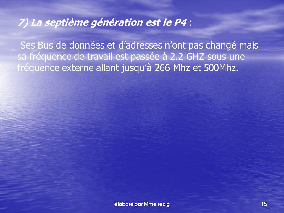 élaboré par Mme rezig15 7) La septième génération est le P4 : Ses Bus de données et dadresses nont pas changé mais sa fréquence de travail est passée