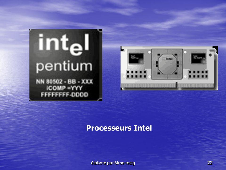 élaboré par Mme rezig22 Processeurs Intel