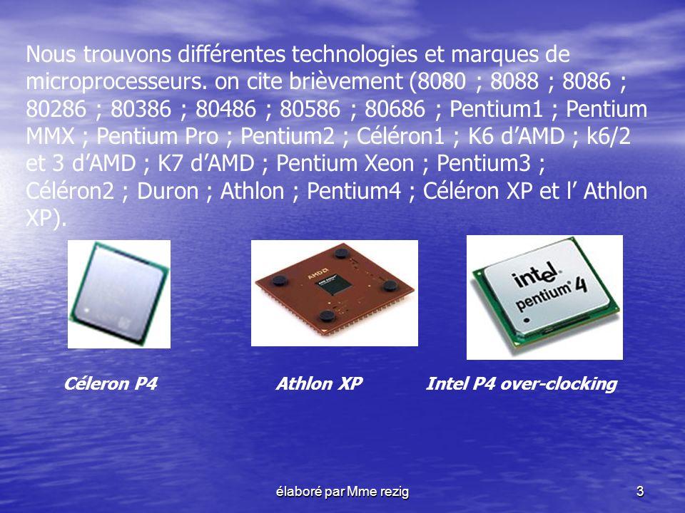 élaboré par Mme rezig4 Dans le monde des PC, les principaux fabricants sont : INTEL, IBM, CYRIX, AMD, NEXGEN (désormais racheté par AMD), CENTAUR et TEXAS INSTRUMENT..