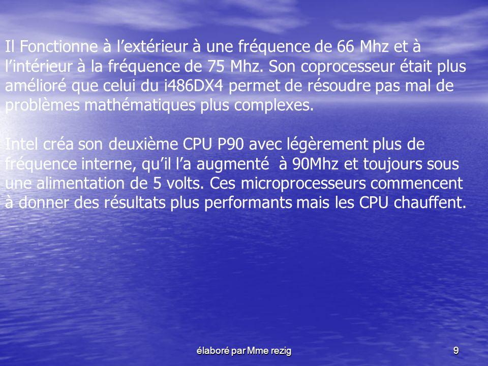 élaboré par Mme rezig9 Il Fonctionne à lextérieur à une fréquence de 66 Mhz et à lintérieur à la fréquence de 75 Mhz. Son coprocesseur était plus amél