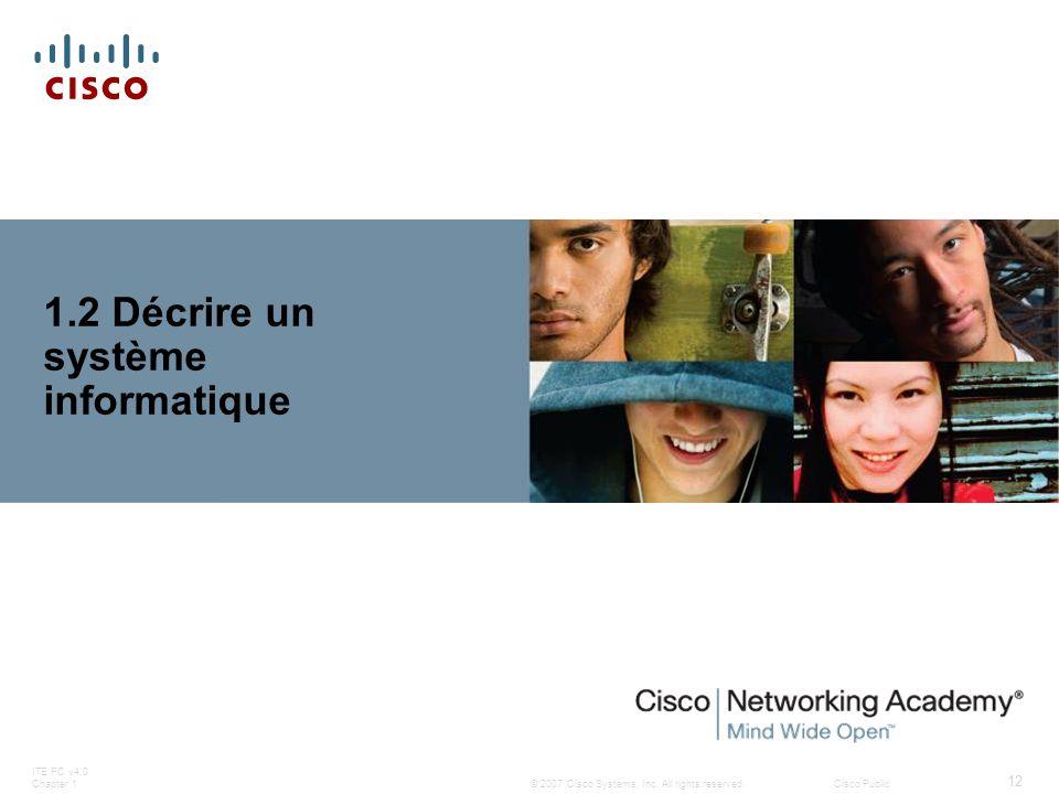 © 2007 Cisco Systems, Inc. All rights reserved.Cisco Public ITE PC v4.0 Chapter 1 12 1.2 Décrire un système informatique