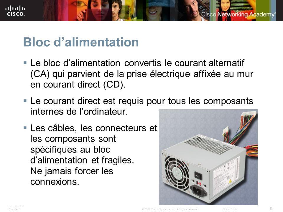 ITE PC v4.0 Chapter 1 18 © 2007 Cisco Systems, Inc. All rights reserved.Cisco Public Bloc dalimentation Le bloc dalimentation convertis le courant alt