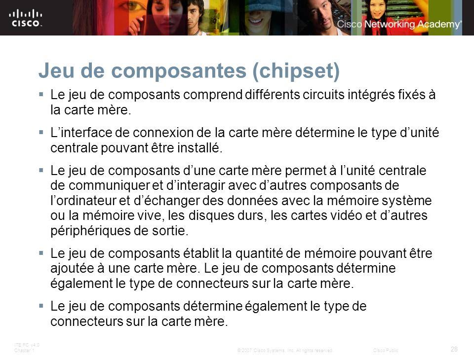 ITE PC v4.0 Chapter 1 28 © 2007 Cisco Systems, Inc. All rights reserved.Cisco Public Jeu de composantes (chipset) Le jeu de composants comprend différ