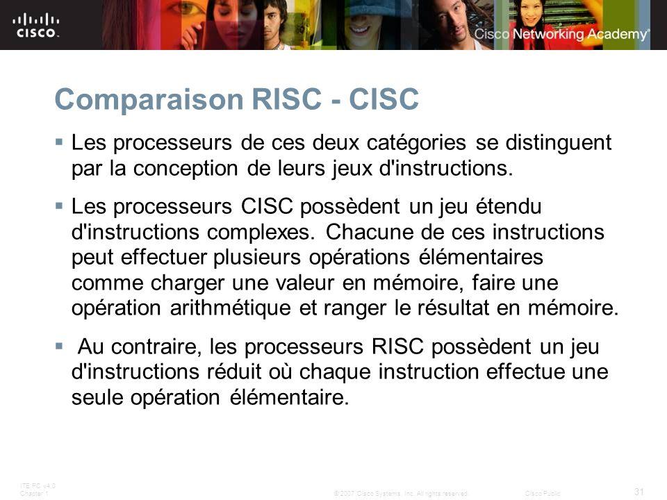 ITE PC v4.0 Chapter 1 31 © 2007 Cisco Systems, Inc. All rights reserved.Cisco Public Comparaison RISC - CISC Les processeurs de ces deux catégories se