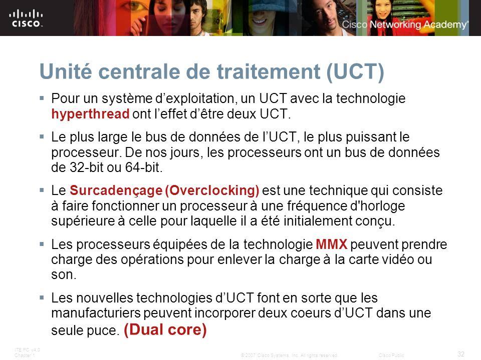 ITE PC v4.0 Chapter 1 32 © 2007 Cisco Systems, Inc. All rights reserved.Cisco Public Unité centrale de traitement (UCT) Pour un système dexploitation,