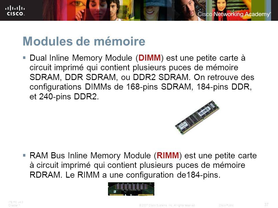 ITE PC v4.0 Chapter 1 37 © 2007 Cisco Systems, Inc. All rights reserved.Cisco Public Modules de mémoire Dual Inline Memory Module (DIMM) est une petit
