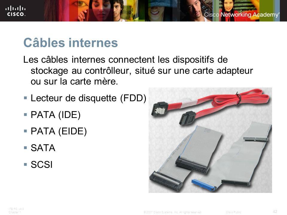 ITE PC v4.0 Chapter 1 42 © 2007 Cisco Systems, Inc. All rights reserved.Cisco Public Câbles internes Les câbles internes connectent les dispositifs de