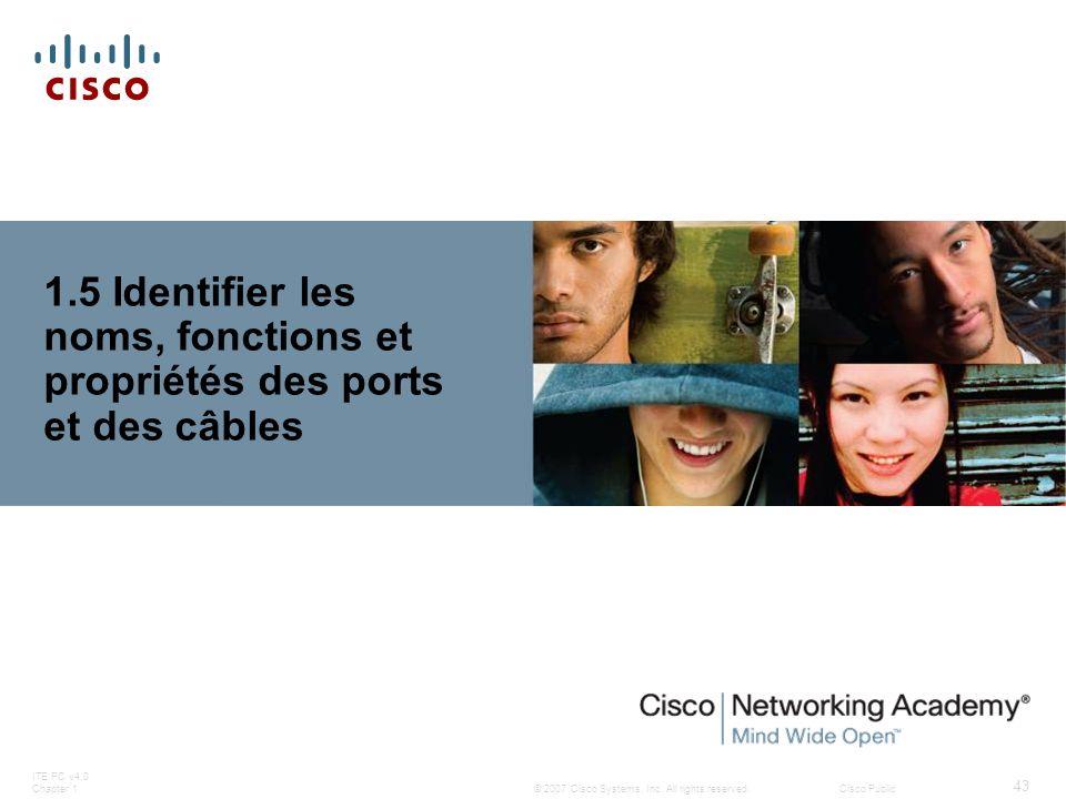 © 2007 Cisco Systems, Inc. All rights reserved.Cisco Public ITE PC v4.0 Chapter 1 43 1.5 Identifier les noms, fonctions et propriétés des ports et des