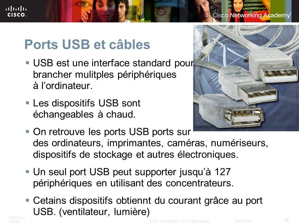 ITE PC v4.0 Chapter 1 45 © 2007 Cisco Systems, Inc. All rights reserved.Cisco Public Ports USB et câbles USB est une interface standard pour brancher