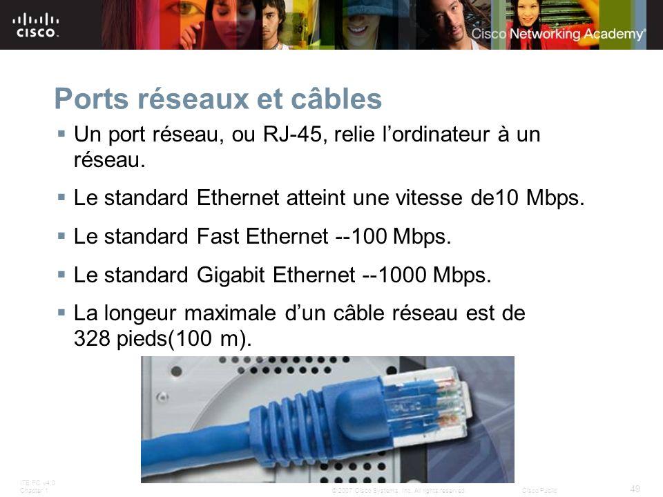 ITE PC v4.0 Chapter 1 49 © 2007 Cisco Systems, Inc. All rights reserved.Cisco Public Ports réseaux et câbles Un port réseau, ou RJ-45, relie lordinate