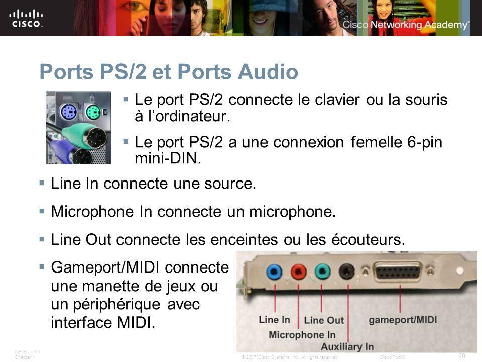 ITE PC v4.0 Chapter 1 50 © 2007 Cisco Systems, Inc. All rights reserved.Cisco Public Ports PS/2 et Ports Audio Le port PS/2 connecte le clavier ou la