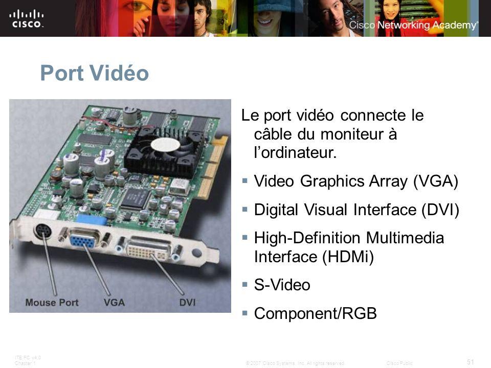 ITE PC v4.0 Chapter 1 51 © 2007 Cisco Systems, Inc. All rights reserved.Cisco Public Port Vidéo Le port vidéo connecte le câble du moniteur à lordinat