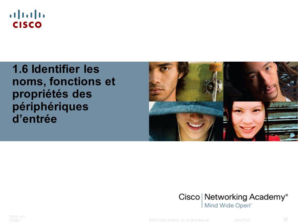 © 2007 Cisco Systems, Inc. All rights reserved.Cisco Public ITE PC v4.0 Chapter 1 52 1.6 Identifier les noms, fonctions et propriétés des périphérique