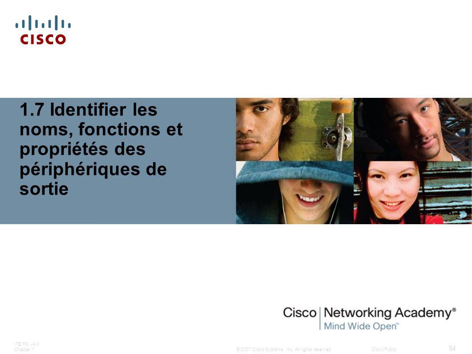 © 2007 Cisco Systems, Inc. All rights reserved.Cisco Public ITE PC v4.0 Chapter 1 54 1.7 Identifier les noms, fonctions et propriétés des périphérique