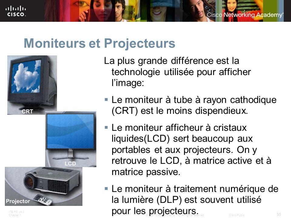 ITE PC v4.0 Chapter 1 55 © 2007 Cisco Systems, Inc. All rights reserved.Cisco Public Moniteurs et Projecteurs La plus grande différence est la technol