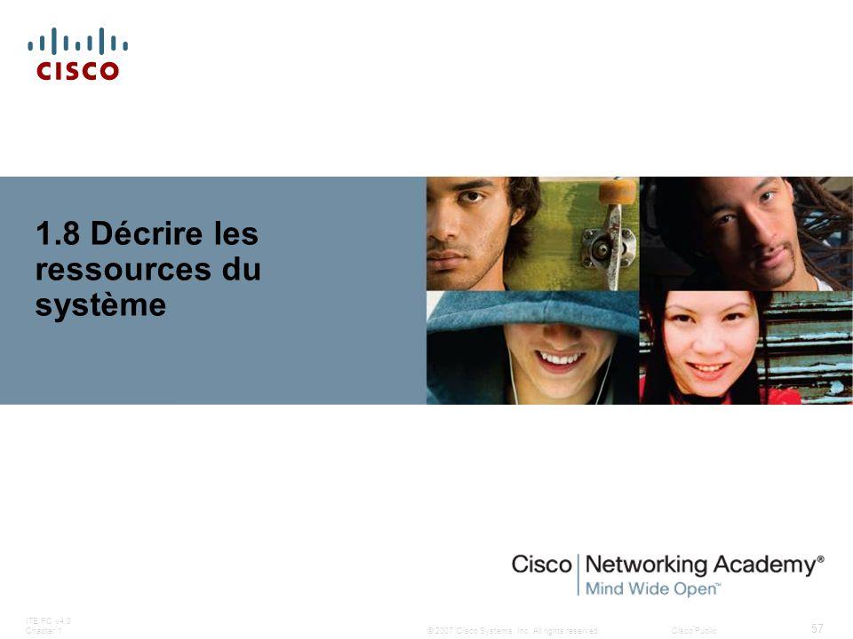© 2007 Cisco Systems, Inc. All rights reserved.Cisco Public ITE PC v4.0 Chapter 1 57 1.8 Décrire les ressources du système