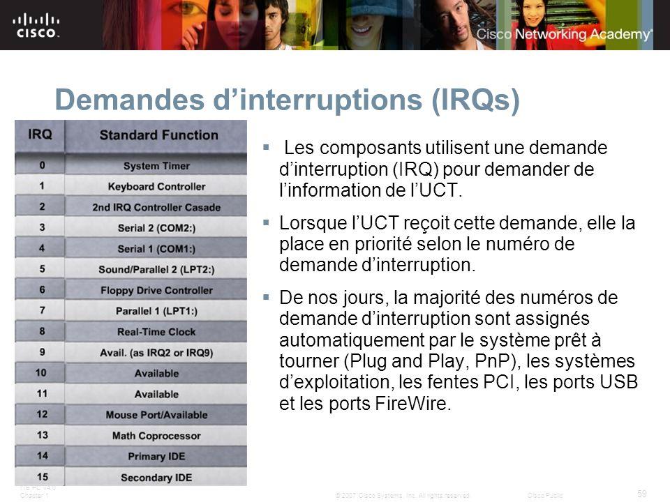 ITE PC v4.0 Chapter 1 59 © 2007 Cisco Systems, Inc. All rights reserved.Cisco Public Demandes dinterruptions (IRQs) Les composants utilisent une deman