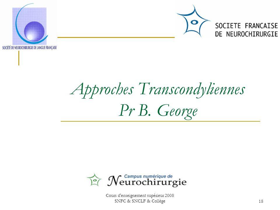 Cours d enseignement supérieur 2008 SNFC & SNCLF & Collège18 Approches Transcondyliennes Pr B.