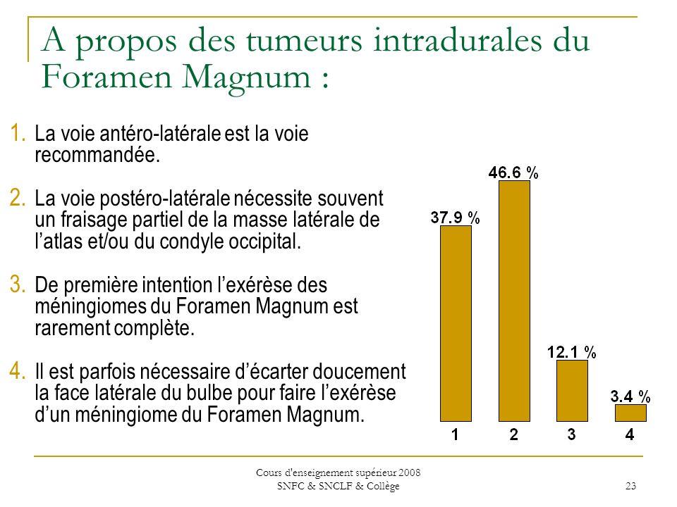 Cours d enseignement supérieur 2008 SNFC & SNCLF & Collège 23 A propos des tumeurs intradurales du Foramen Magnum : 1.