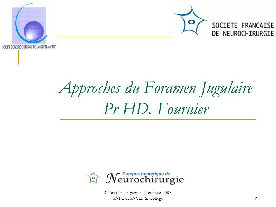 Cours d enseignement supérieur 2008 SNFC & SNCLF & Collège25 Approches du Foramen Jugulaire Pr HD.