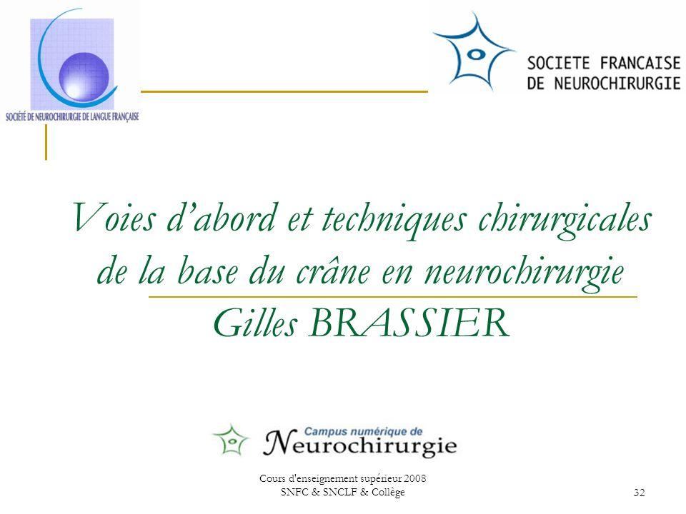 Cours d enseignement supérieur 2008 SNFC & SNCLF & Collège32 Voies dabord et techniques chirurgicales de la base du crâne en neurochirurgie Gilles BRASSIER