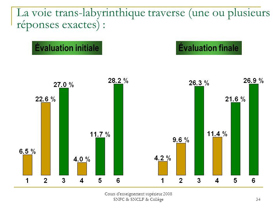 Cours d enseignement supérieur 2008 SNFC & SNCLF & Collège 34 Évaluation initialeÉvaluation finale La voie trans-labyrinthique traverse (une ou plusieurs réponses exactes) :