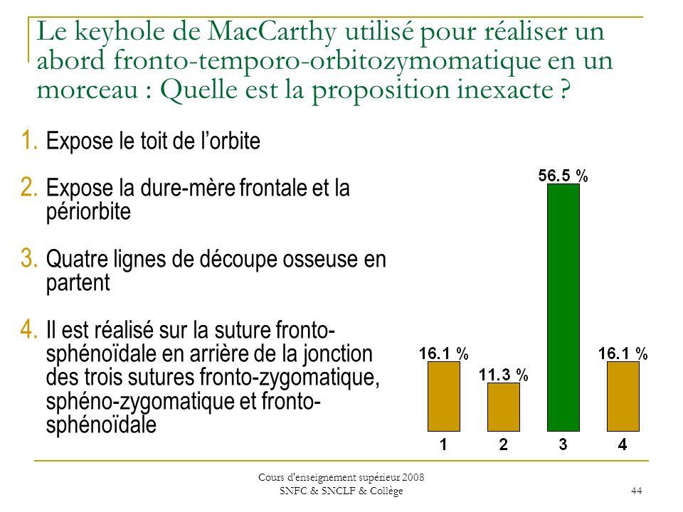 Cours d enseignement supérieur 2008 SNFC & SNCLF & Collège 44 Le keyhole de MacCarthy utilisé pour réaliser un abord fronto-temporo-orbitozymomatique en un morceau : Quelle est la proposition inexacte .