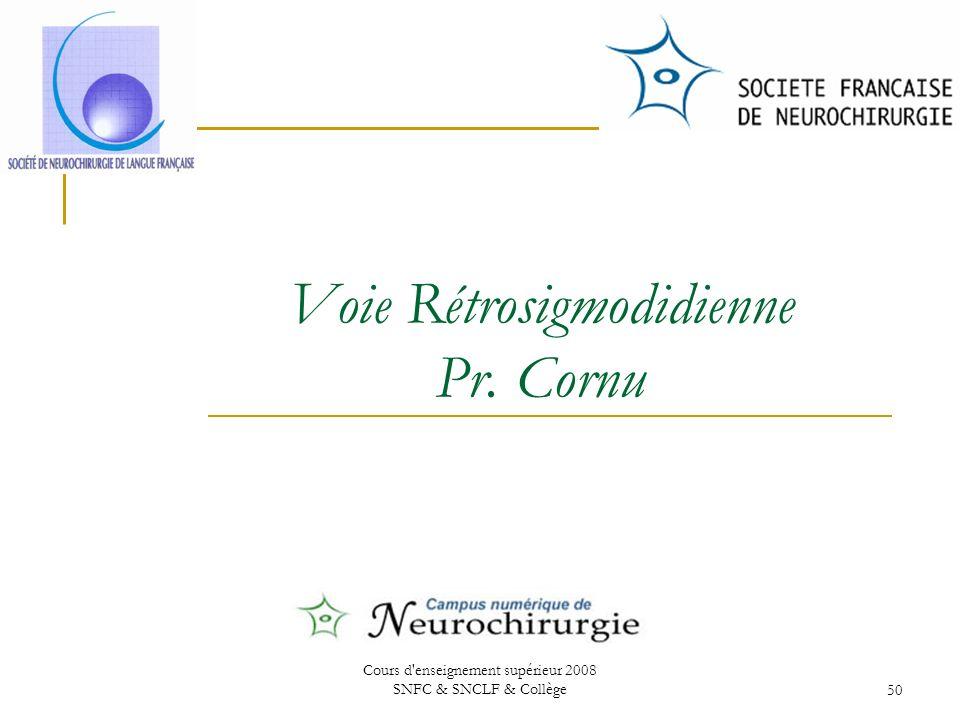 Cours d enseignement supérieur 2008 SNFC & SNCLF & Collège50 Voie Rétrosigmodidienne Pr. Cornu