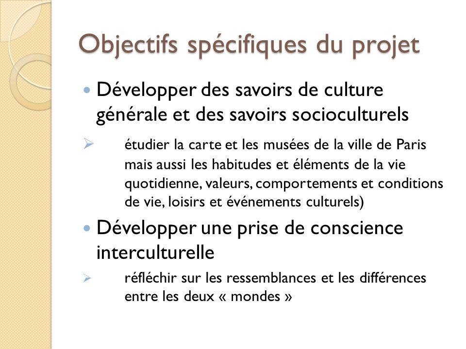 Objectifs spécifiques du projet Développer des savoirs de culture générale et des savoirs socioculturels étudier la carte et les musées de la ville de