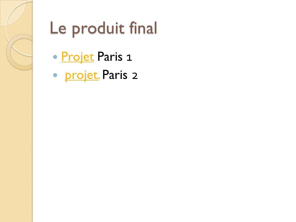 Le produit final Projet Paris 1 Projet projet. Paris 2projet. 15