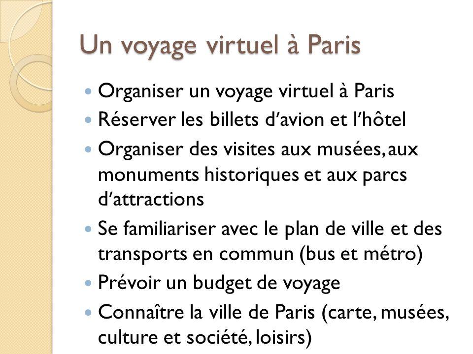Un voyage virtuel à Paris Organiser un voyage virtuel à Paris Réserver les billets davion et lhôtel Organiser des visites aux musées, aux monuments hi