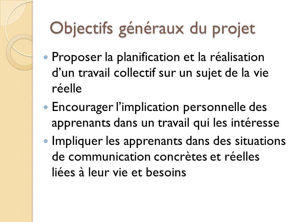 Objectifs généraux du projet Proposer la planification et la réalisation dun travail collectif sur un sujet de la vie réelle Encourager limplication p