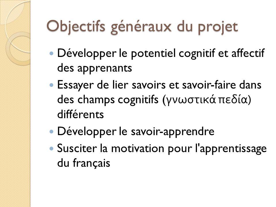 Objectifs généraux du projet Développer le potentiel cognitif et affectif des apprenants Essayer de lier savoirs et savoir-faire dans des champs cogni