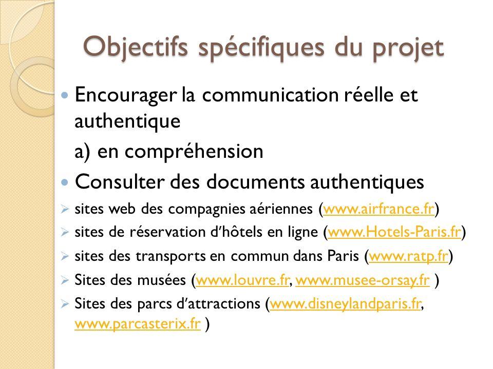 Objectifs spécifiques du projet Encourager la communication réelle et authentique a) en compréhension Consulter des documents authentiques sites web d