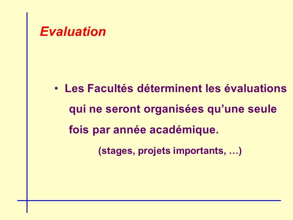 Evaluation Les Facultés déterminent les évaluations qui ne seront organisées quune seule fois par année académique.