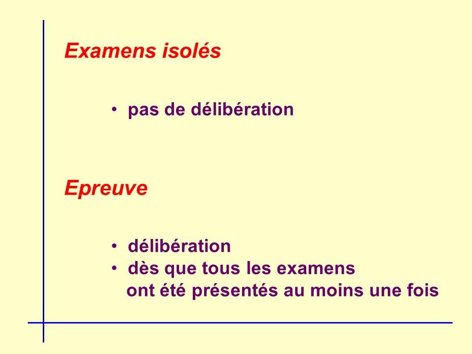 Examens isolés pas de délibération Epreuve délibération dès que tous les examens ont été présentés au moins une fois