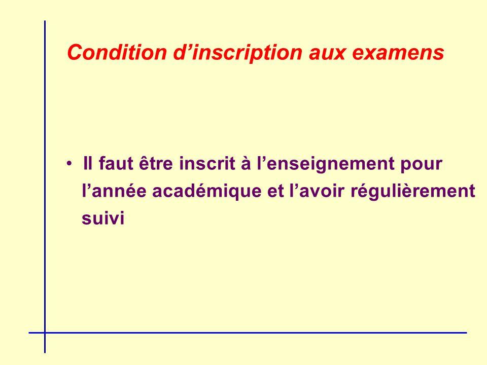 Condition dinscription aux examens Il faut être inscrit à lenseignement pour lannée académique et lavoir régulièrement suivi