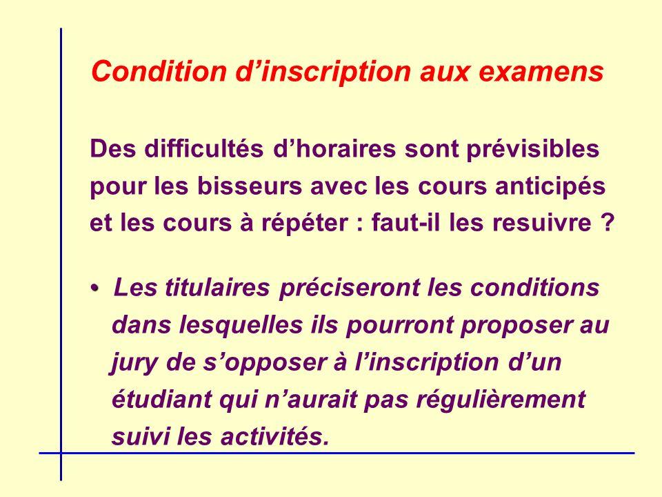 Condition dinscription aux examens Des difficultés dhoraires sont prévisibles pour les bisseurs avec les cours anticipés et les cours à répéter : faut-il les resuivre .