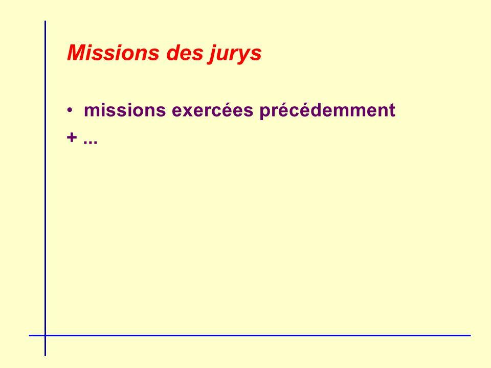 Missions des jurys missions exercées précédemment +...